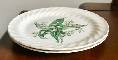"""Set of 2 ROYAL CHINA INC.  SMALL LUNCHEON PLATES """"LILY OF THE VALLEY"""""""