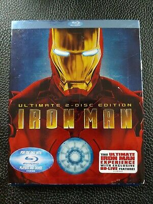 Iron Man w/ Slipcover (2-Disc Blu-ray Set, 2008, Ultimate Edition) marvel mcu