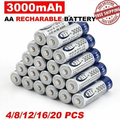 NEW BTY AA Rechargeable Battery Recharge Batteries 1.2V 3000mAh Ni-MH 4/20pcs
