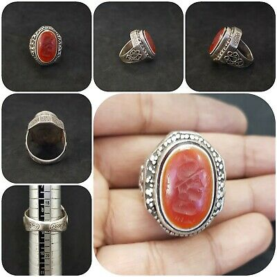 Ancient Solid Silver Wonderful Ring With Intaglio King Red Agate Stone #Q10