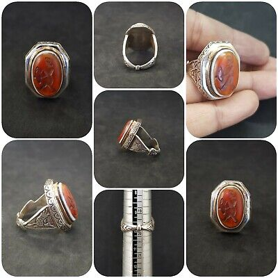 Beautiful Solid Silver Ring With King Empire Hunting Intaligo Agate Stone #J3