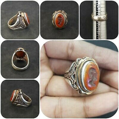 Solid silver Unique Old Ring with king empire wonderful intaligo Agate stone #J3