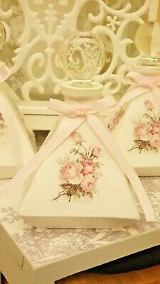 ❤ Stunning Shabby Chic French Style Glass Pyramid Shape Bottle Love Amore Roses