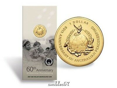 **2007 Australian 60th Anniversary of Peacekeeping carded $1 coin **