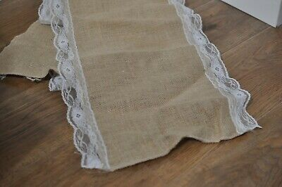 6 x Rustic Lace and Hessian Wedding Table Runners 40cm x 220cm 0.4m x 2.2m Jute
