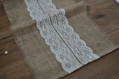 10 x Rustic Lace and Hessian Wedding Table Runners 30cm x 180cm 0.3m x 1.8m Jute
