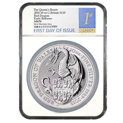 2018 Great Britain 10 oz Silver Queen's Beasts (Red Dragon) Coin NGC MS 70 FDOI