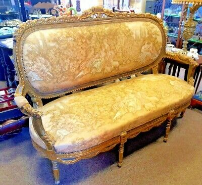 Giltwood Carved French Louis XVI Style Salon Sofa Classical Watteau Upholstery