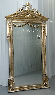 220Cm Victorian Gold & Silver Leaf Painted Carved Antique Full Length Mirror