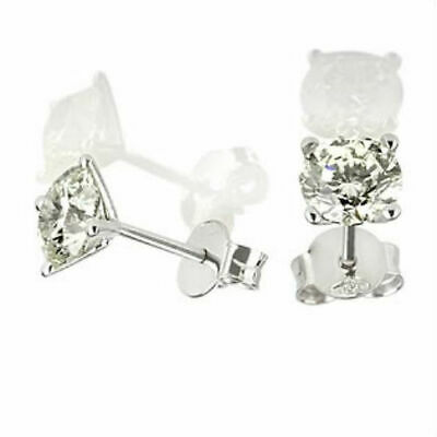 Certified 1.7 Carat Solitaire Round Diamond 14K White Gold Promise Stud Earrings