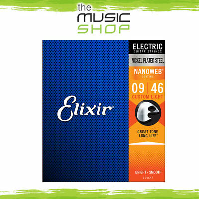 12 x Elixir Nanoweb 9-46 Custom Light  Electric Guitar Strings - 12027 Bulk Box
