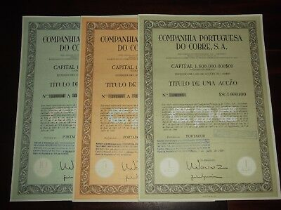 Titles of Shares of the Portuguese copper company 1- 5 - 10 shares 1988
