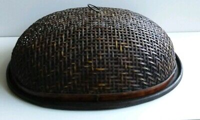 Bamboo Food Fruit Wicker Rattan Straw Basket Bread Storage With Dome Oval Plate
