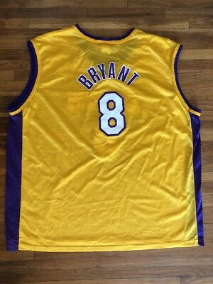 ce0c1473ea1 KOBE BRYANT Vtg 90s Rookie  8 Los Angeles Lakers CHAMPION GOLD Jersey Sz 52  2XL