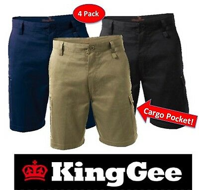 """King Gee - 4 Pack-  Mens """"Workcool"""" Cotton Drill Cargo Pocket Work Shorts K17800"""