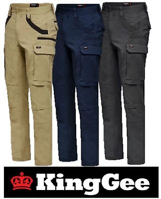 King Gee -Mens Tradies Stretch Cargo Work Pants -Straight Fit- Trousers - K69860