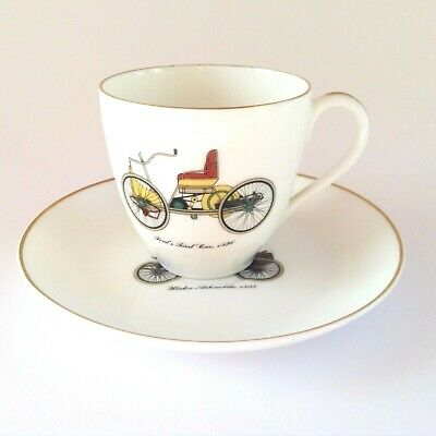 Vintage French Limoges Porcelain Coffee Cup & Saucer Car Duo Ford & Winton