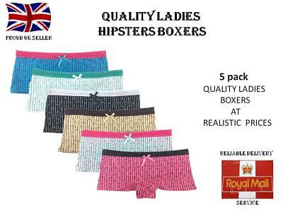 5 Pack Ladies Cotton Boyshorts Knickers Hipster Boxer Briefs Lingerie UK 8 10 12