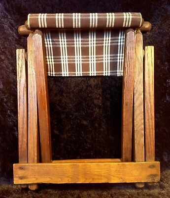Antique Folding Wood / Cloth Child Camp Beach Chair - Stool - Footrest