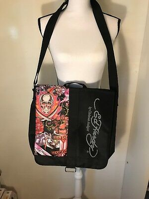 8945bb4656 Ed Hardy by Christian Audigier Messenger Shoulder Bag Death Dishonor Purse  Skull
