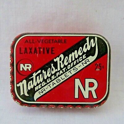 Small Vintage Nature's Remedy Laxative Tablets Medicine Tin Lewis-Howe St Louis