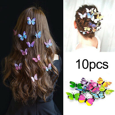 10Pcs 3D Butterfly Hair Clips Hairpin Accessory Festival Party Wedding Bridal UK