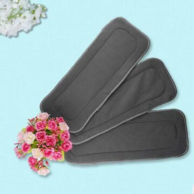 5 Layer Charcoal Bamboo Microfiber Cloth Diaper Insert Nappy Liners 1Pc WT