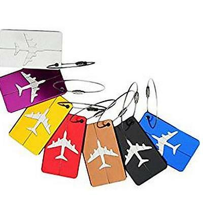 7Pcs Aluminum Alloy Luggage Tags Baggage Suitcases Travel Labels Plane Shape WT