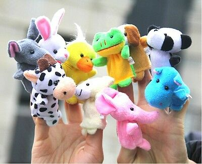 10Pcs Cartoon Finger Puppets Cloth Plush Doll Baby Educational Hand Animal Toy