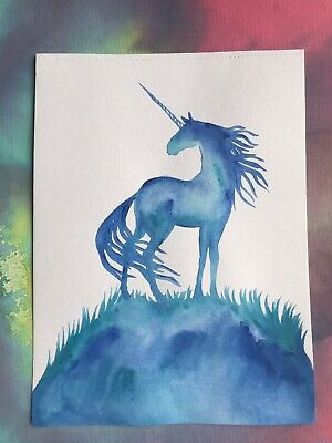 FREE POST Horse Art Sienna Mayfair A4 Painting Blue Unicorn