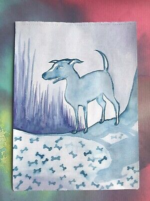 FREE POST Dog Art Sienna Mayfair A4 Painting Blue Bones