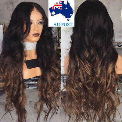 [AU Ship] Women Long Full Wig Natural Curly Wavy Synthetic As Real Hair Wigs Cap