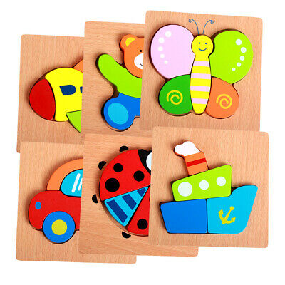 Bing Kids Baby Wooden Wood Cartoon Animal Puzzle Learning Educational Toy & Game