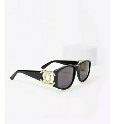 d31a1933358 Vintage Chanel Black And Gold Logo Cc 90405 Sunglasses Grey Lense