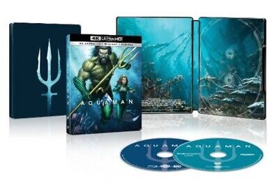"New! Aquaman (2018) ""steelbook"" 4K Ultra Hd Blu-Ray + Blu-Ray + Digital *3/26*"