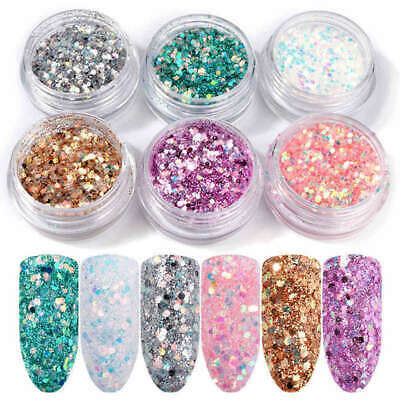 6 Mix Nail Art Glitter Sequins Powder Dust for UV Gel Acrylic Tips High Quality