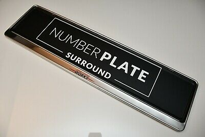 1 x PRESTIGE CHROME STAINLESS STEEL NUMBER PLATE SURROUND HOLDER FOR MINI COOPER
