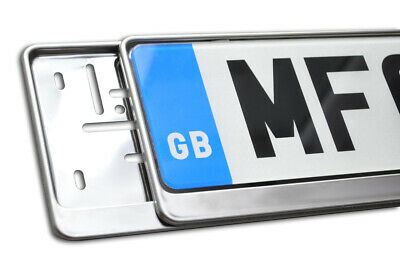 1 x PRESTIGE CHROME STAINLESS STEEL NUMBER PLATE SURROUND HOLDER FOR ALL CARS