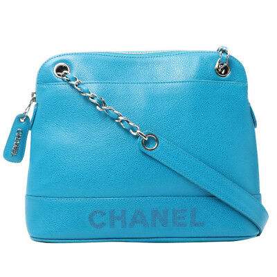 Vintage CHANEL Caviar Skin Logo Embroidered Chain Tote Bag Turquoise Blue