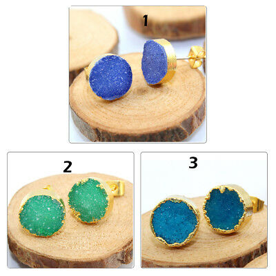 Round Natural Agate Druzy 24k Gold Pated Stud Earrings Jewelry Free Shipping
