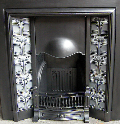 Art Nouveau Fireplace Tile Set (2 X 5 Tile Panels) Ref An11 Grey