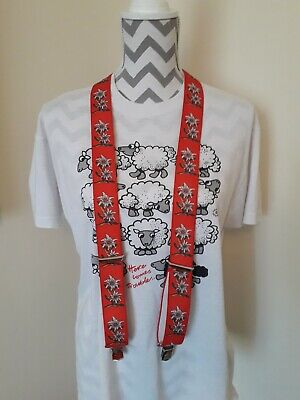 Grade A Vintage Clip On Trouser Braces/Red With Floral Deco/Size Small...
