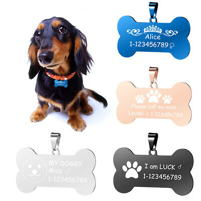 Personalized Dog Bone Tags Engraved Cat Puppy Pet ID Name Collar Tag Pendant