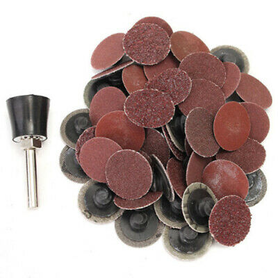 Newly 50pcs R Type Roll Lock Sanding Discs With 1x Mandrel 36/60/80/120/220 Grit