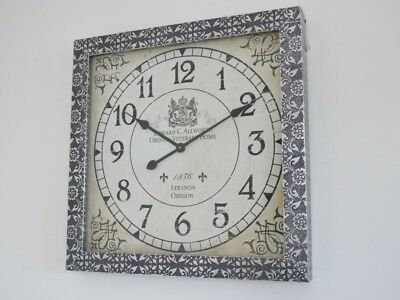 Large Metal Square Embossed Wall Clock Silver & Black  Moroccan Antique Style