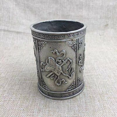 Marked Chinese Dynasty Copper Carving Treasures multiplier Brush Pot Pencil Vase
