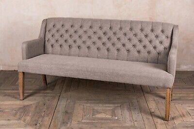 3 Seater Stone Grey Linen Upholstered Dining Bench French Style Button Back Sofa
