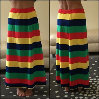 VINTAGE 70s MAGLIA STRIPE MAXI SKIRT M red yellow green psychadelic 1970s PARTY