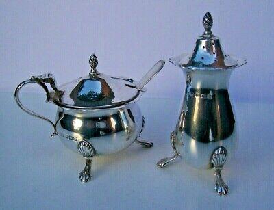 Solid Silver Mustard Pot & Matching Silver Pepperette Fully Hallmarked For 1922