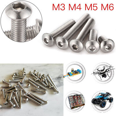 100PC M3 M4 M5 M6 Metric Button Head Screws Hex Socket Bolts-A2 Stainless Steel
